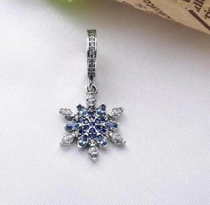 Winter Crystalized Snowflakes Dangle Charm Bead with Blue Cz Fits European Pandora Jewelry Bracelets & Necklace ps2061