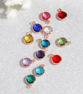 Fashion Crystal Charm Pendant Copper Metal Rose Gold Color 12 Birthstone Rhinestones Round 8.7mm for Necklace Bracelet DIY Jewelry wjl5434