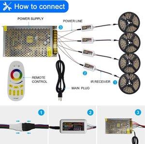SMD LED Strip Light RGB + Ruban blanc 60EDS / M + MI-Light Controlers 20A Alimentation pour la décoration de la maison (bandes RG