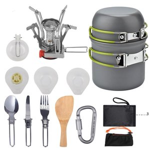 Cookware Sets Outdoor Cookware Portable Hiking Picnic Backpacking Camping Tableware Pot Pan Cooking Tool Set 1-2persons H49R