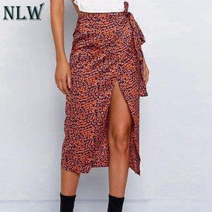 Skirts NLW High Waist Bow Wrap Skirt Women Leopard Print Sexy Midi Fashion Winter Autumn 2021 3 Colors Plus Size