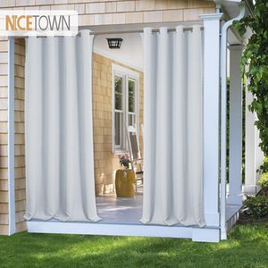 7 Colors Outdoor Curtain Drape Blackout Light Blocking Fade Resistant with Grommet Rust-Proof for Porch&Beach&Patio Garden Supplies