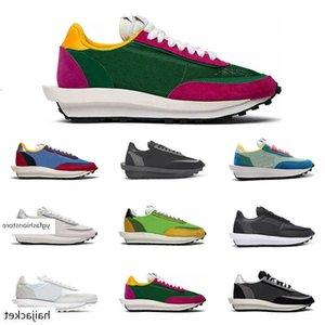 Sacai X LDV Waffle Men Women Running Shoes LD Triple Black White Nylon Pine Green Gusto Varsity Blue Trainer Fashion Sports Sneakers