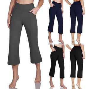Couleur pure de femme de poche haute taille de poche de poche de yoga Sports Fitness jambe grand jambe Collants Collants femme Spodnie Damskie Outfit