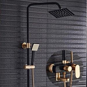 Black&Gold Shower Faucet Space Aluminum Bathtub Rainfall Head Handheld Bar Wall Mount Bathroom Mixer Tap Set Sets