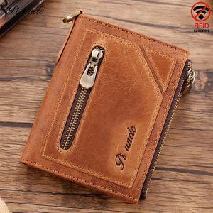 Винтаж мужской натуральный кожаный кошелек кошелек кошелек RFID мужчины тонкие с двойной почтовой почтовой картой держатель сцепления Carteira Hombre для мужских кошельков