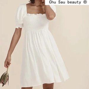 Мода сладкий шикарный французский романтический белый хлопок мини-платье женщины летние повседневные стиль эластичные бюсты платья женщины 210514