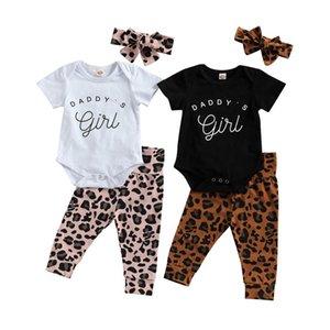 Pudoco 2021 Spring 0-18m Baby Girl 3pcs Set Daddy letra letra Impresión de manga corta Body + Pantalones de leopardo + Diadema 2 Colores Conjuntos de ropa