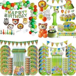 Disposable Dinnerware Jungle Safari Birthday Party Decoration Tableware Set Baby Shower Animal Zoo Theme Supplies