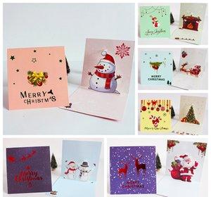 Christmas 3D Gilding Greeting Card Santa Claus Snowman Scarf Pattern Thicken Postcard Cartoon Handwriting Blessing Cards BH4870 TYJ