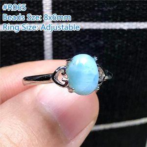8x6mm Top Natural Larimar Anello per donna Lady Man Silver Oval Beaks Acqua Pattern Stone Regolabile Anelli di gioielli di gioielli regolabili