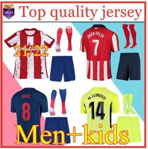 Мужчины + Kids Kit 21 22 Atletico Suárez Madrid Home Oled 3-й футбол для футболки 2020 2021 Camisetas de Fútbol Joao Felix футбол