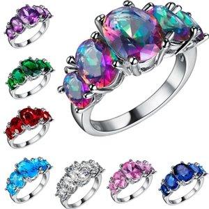 8 цветов AAA Zircon 925 твердое стерлинговое серебро кольцо с многоцветной камень овальное кольцо для женщин подарочные свадебные аксессуары