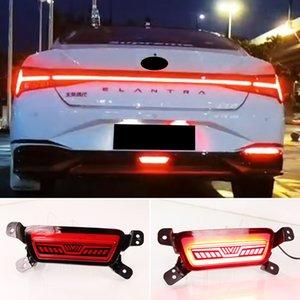 1PCS Auto Rear Bumper Reflector Brake Light For Hyundai Elantra 2021 2022 LED Car Warning Fog Lamp driving light