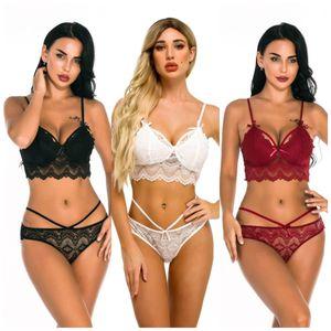 Women underwear sexy set hollow lingerie ladies tied up three point bikini
