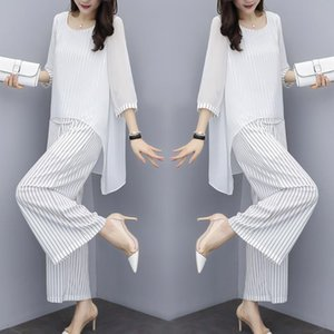 Chiffon Pantsuits Women Pant Suits For Mother Of The Bride Outfit 2021 Formal Wedding Guest Striped Wide Leg Loose 3 Piece Sets Women's Two