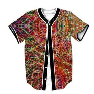 Estate Moda uomo Jersey rosso bianco giallo multi 3d stampa manica corta hip hop allentati tee shirt da baseball t shirt cosplay costume 014