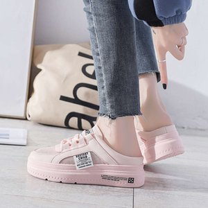 flip flop2021 new spring and summer half slippers, women's bag head, no heel, lazy board shoes, breathable, wearing small white shoes with one foot