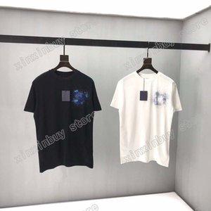 21SS Men Stampato T Shirt Designer Paris Rhinestone Lettera Vestiti manica corta Mens Camicia da uomo Tag bianco nero giallo