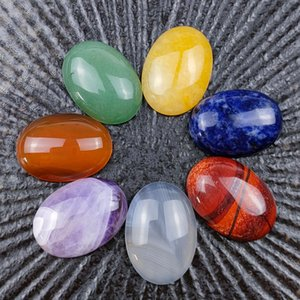 7pcs Chakra Reiki Symbols Crystals Healing Stone Seven Chakras Lucky Holistic Energy Balancing Polished Hand Piece Natural Stones Beads Decoration