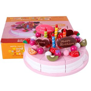 Mother garden baby kid's playhouse strawberry double layers artificial cake set wooden child toy LJ201009