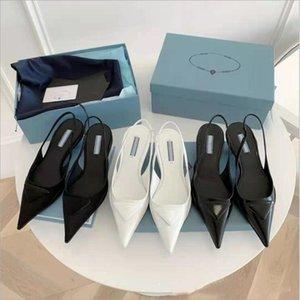Orijinal Modeller P-DA Lüks Tasarımcı Marka Sivri Sandalet 2021 Son Moda Bayan Hakiki Deri Sığ Ağız Yüksek Topuklu Sandalet Elbise Ayakkabı