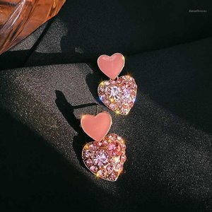 Pink Heart-Shaped Earrings Ear Stud Crystal Ear Pendant Korean Japanese Simple Fashion Net Red Stud New Fashion1