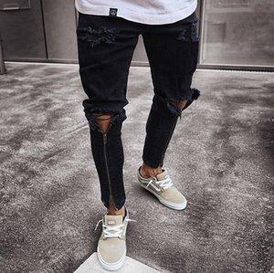 جينز الرجال نحيل صالح سستة ممزق السراويل الضيقة الساق العصرية السراويل الضيقة الدنيم المناسب