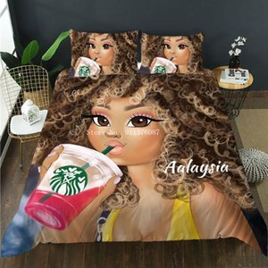 Bedding Sets African Girl Set Single Twin Full Queen King Size Black Fashion Bed Aldult Kids Bedroom Duvet Cover Pillowcase