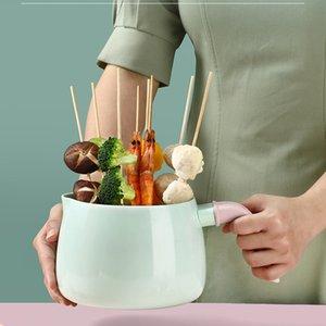 OAPE 1.7L Induction Cooker Soup Cooking Instant Noodle Bowl With Transparent Lid Mini Enamel Hot Nonstick Small Coffee Milk Pot 210319