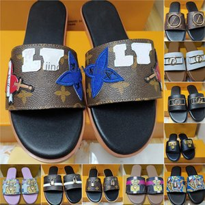 Luxury flat sandals DESIGN EMBROIDERED tricolor slippers shoal leisure indoor complete set of accessories 35-42