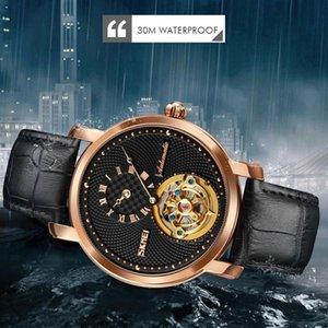 Moda Negócio Automático Assista Homens Giroscópio Decoração Mens Mãos Mecânica relógios de pulso de couro Relógio Relogio Masculino