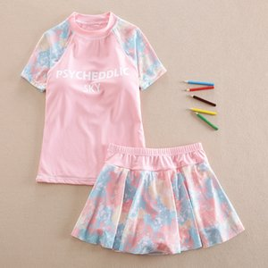 Girls' Split Middle and Large Conservative Skirt 12 Children's Flat Pants Student Swimsuit Girl 15 Years Old