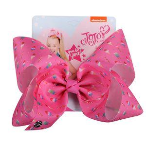 8 Inches JoJo Bows Jojo Siwa Grosgrain Ribbon HeadClips For Girls Handmade Barrettes Hairpin Part kids girls Hair Accessories