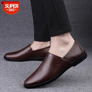 Men's casual shoes round toe flat-heel solid color low-top breathable leather for men #rY91
