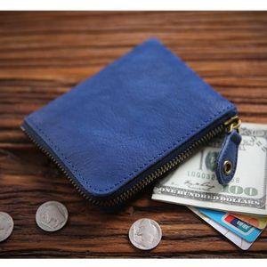 Purse Short Vegetable Wallets Fashion Zipper Men Cardholder Luxury Leather Nature Tanning Cowhide Male Style 100% Wallet Genuine Qffer