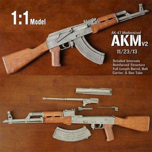 1:1 Scale 87cm AKM AK47 Gun Model Papercraft Toy DIY 3D Paper Card Military Model Handmade Crafts Toys for Boy Gift