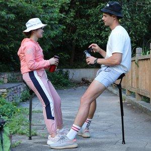 Silla de pesca plegable portátil Taburete High Single Leg Outdoor BBQ al aire libre Camping Foot Recliner Resto Accesorios