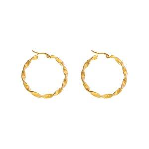 earring stud earrings for women Designer Jewelry Hoop Huggie Stainless steel twist buckle women's personality temperament titanium