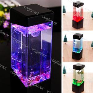 Jellyfish Night Lights Colorful Atmosphere Aquarium LED Tank Desk Lamp For Living Room Office Bedside Desktop DHL