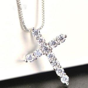 2021 YHAMNI Luxury Cubic Circon Cross Colgante Colgante 925 Sterling Silver Cross Christian Jesus Jewelry para mujer Regalo HZL005