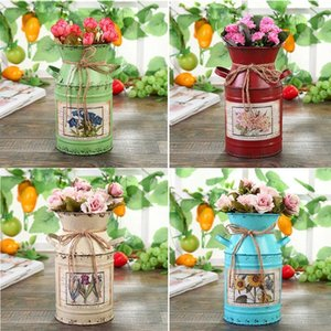 Shabby Table Gift Arrangement Craft Home Decoration Vintage Pots Iron Bucket Wedding Flower Vase Rural Style Vases