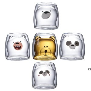 Cute Christmas Tree Mug Double Wall Glass Coffee Cups with Silocone Lid Snowflake Star Xmas Gift Wine Tea Milk Water Tumbler HWB7526