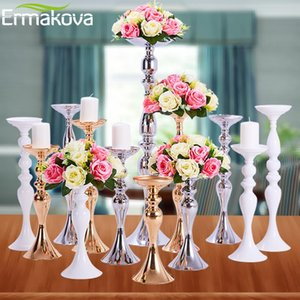 Candle Holders ERMAKOVA Stand Column Candlestick Event Road Lead Flower Vase Rack Table Wedding Centerpieces Party Dinner Decor