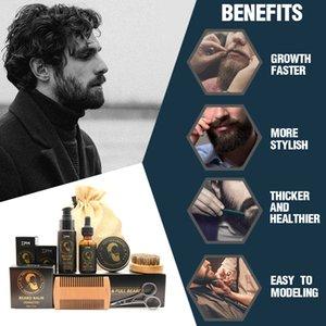 100% чистая натуральная профессия мужская борода Care Kit Kit 7PCS / комплект отпускной кондиционер увлажняющий бородой рост нефтяных нефть
