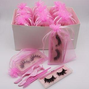 3D Mink Peache Peach Faux Hair Falso Natural Cross Eye Peachs Extensión con pestañas Pinzas Pincel de pestañas Sistema en bolsa de rosa Modificación de la bolsa y DHL