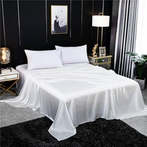 Sheets & Sets Solid Color Flat Sheet Silk Bed King Queen Luxury Natural Super Soft Comfortable Bedsheets Home Textiles Bedsheet