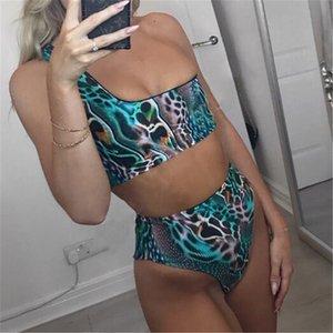 여성 뱀 가죽 인쇄 하이 허리 비키니 세트 수영복 수영복 숙녀 Beachwear 2 조각 수영복 Biquini
