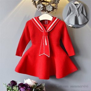 Girls christmas party dresses preppy style kids stripe tie long sleeve knitted sweater dress fall winter children princess clothing Q2687