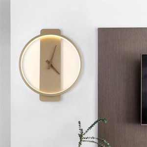 Wall Lamps Decor Nordic Bedside Round Simple Sconce Loft Clock Indoor Fixture 18W Home Decoration Accessories For Bedroom